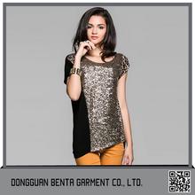 De nueva diseño elegante larga camiseta dorada leoparda con lentejuelas para mujeres