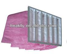 f7 eficiência de ar condicionado central da agulha da fibra de vidro saco de filtro