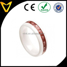 Fashion Jewelry China Supplier Ceramic Rings Wholesale,White Ceramic Wedding Band Ring 8MM with Old Rose Pink Carbon Fiber Inlay