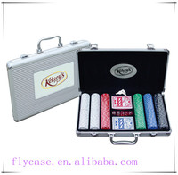 500pc ABS aluminum poker chip set/chip and playing card in aluminum case with print logo