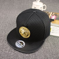 Black leather mesh covered crown young men metal sun god snapback caps snapback with metal decoration for boys (SU-SBC125)
