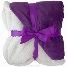 floral embossed plain dyed velvet sherpa two sides blanket