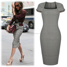 2015 Women's wholesale Square Neck Cap Sleeve Button Hem Bodycon Celeb OL Business boutique officeDress
