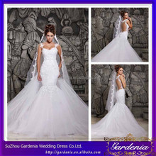 High Quality Sexy Removable Trian Wedding Dress Mermaid/Trumpet Sweetheart Neck See Through Back Middle East Wedding Gown SA204