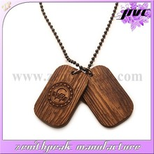 Factory direct sale wooden dog tag with engraved logo.