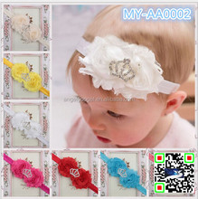 Latest Cute Crystal Pearl Baby Girl Crown cotton Headband Newborn Infant Tiara Glitter Crown Princess Headband MY-AA0002