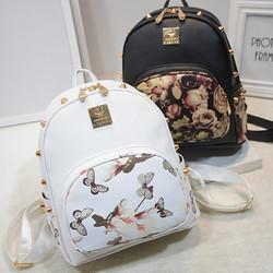 C87816A Korean Trendy Double Strap Fashion PU Floral Print Backpack Bag Manufacturer