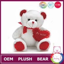 2014 hot sale toy good quality valentine white bear with red heart