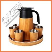 2016 OKEN 100% biodegradable reusable tea cups free etching heat retaining customized logo bamboo cups