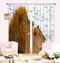 New Hottest African Style 3D picture lifelike Lion Couple printing bedroom decorating window curtains
