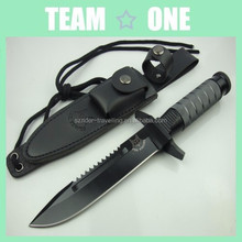 Field Knife Black Fixed Serrated Blade w/ Leather Sheath