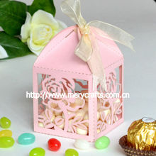 "2014 wedding favours! laser cut ""rose"" wedding favour candy box pink from Mery Crafts"