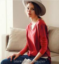 2015 popular round neck women's 100% cotton plain casual t shirt