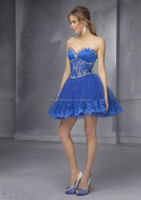 Sweetheart free shipping appliqued lace beaded puffy sexy mini cheap 2015 royal blue cocktail dress CWFacc3918