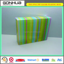 fashionable 2014 new design colorful stripes printed favor custom sweet clear plastic birthday gift box jewelry foldable package