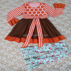 Top quality New spring girls dress kids polka dot with flower pants