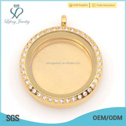 2015 Newest design 316 stainless steel 22mm Rose Gold Blank Floating plates, floating plate wholesale