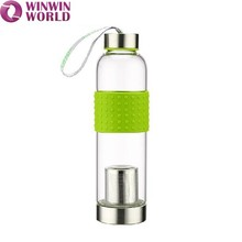 Travel Drinking Glass Water Bottle With Stainless Steel Infuser Price