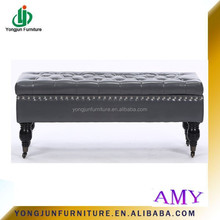Fashion Faux Leather Storage Ottoman,Solid wood design leather ottoman bench,French style modern shoe benches