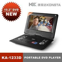 Pulgadas 1024 600 led panel del reproductor de DVD portátil con TV digital de 10 AV USB SD FM Juego 720P película decodificación