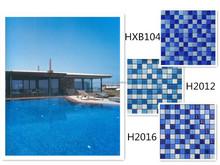 H2016 Blue Crystal Glass Mosaic Swimming Pool Tile Backsplash Cheap Tile