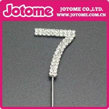 venta caliente Número 7 diamante de cristal boda de la torta de cumpleaños carta Topper