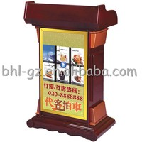 "Modern Office Hotel Furniture Electronic Wooden Reception Desks Wooden Lectern Podium 32"" LED Screen Video Player Wooden Rostrum"