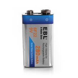 EBL 280mAh NICD High Capacity 9V Rechargeable Batteries