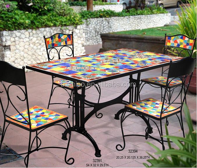 Mexique style jardin table manger et chaises ext rieur - Table fer forge exterieur ...