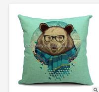 Cotton Linen 45x45cm Animal Pattern Cushion Cover Pillowslip Home Sofa Car Decoration Deer Bear Panda Pillow Case Top Grade