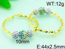 Stainless Steel Colorful Rhinestone Fancy Party Girl Fashion Gold Plated Earrings
