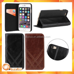 Genuine leather flip case for iPhone 6, for iphone 6 real leather case protective case