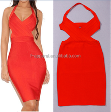 2015 new arrival sexy open back classic bandage dress