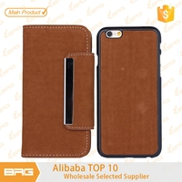 BRG phone case supplier,British Style Squirrel Tail Veins Pattern detachable Leather Cover for iphone 6 plus