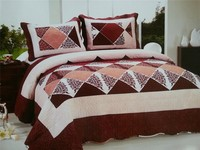 Fancy Triangle pattern printed Patchwork turkish bed cover quilted bedspreads for beds