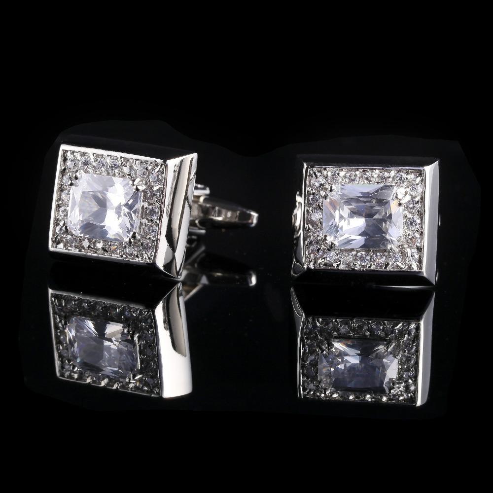 Moda camisa homens jóias <span class=keywords><strong>festa</strong></span> de casamento de prata abotoaduras de cristal