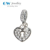 Jewellery Online Shopping 925 Sterling Silver Heart Shaped Lock With Key Charm