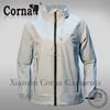 Women lightweight light gray waterproof polyester windbreaker jacket