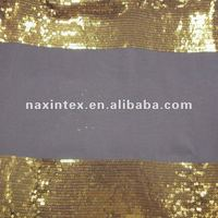 3mm gold sequins embroidery chiffon fabric