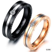 Wholesale Fashion Accessories Jewelry Rhinestone CZ Diamond 316L Stainless Steel Titanium Men Women Lovers Rings GJ306