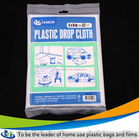 Protection plastic 3*4M decorating and waterproof dust sheet to cover paint protect carpet furniture