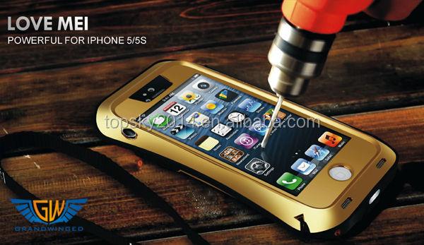 Dirtproof Shockproof Love Mei Metal Aluminum Gorilla Glass Waterproof Case For iPhone 5