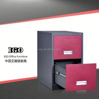 IGO-001-2DW Knocked Down Movable Practical 2 drawer filing cabinets/vintage metal drawer cabinet