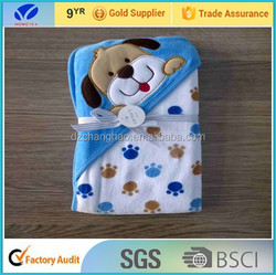 Hot sale!!!Cute dog toy baby towel blanket 100% Organic cotton soft fashion plush baby hooded towel