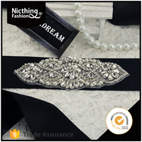 2016 China wholesale new fashion wedding rhinestone trim applique for bride sash belt WRA100