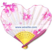 AF1425 Pink flower printed piercing hand fan