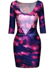 لباس ضيق جنسي كامل طباعة الأزهار أزياء للسيدات اللباس الضيق