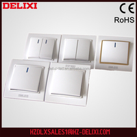 Good quality DELIXI W-T802K1D European standard 2 gang 1 way socket switch electrical switch with lamp