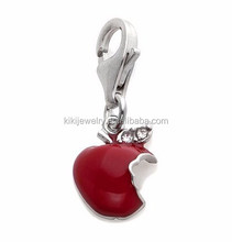 Elegant Custom Silver Plated Dangle Crystal Red Enameled Apple Fruit Charm Jewelry