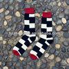 Men Irregular Square Jacquard Mid-Calf Tube Street Fashion Socks